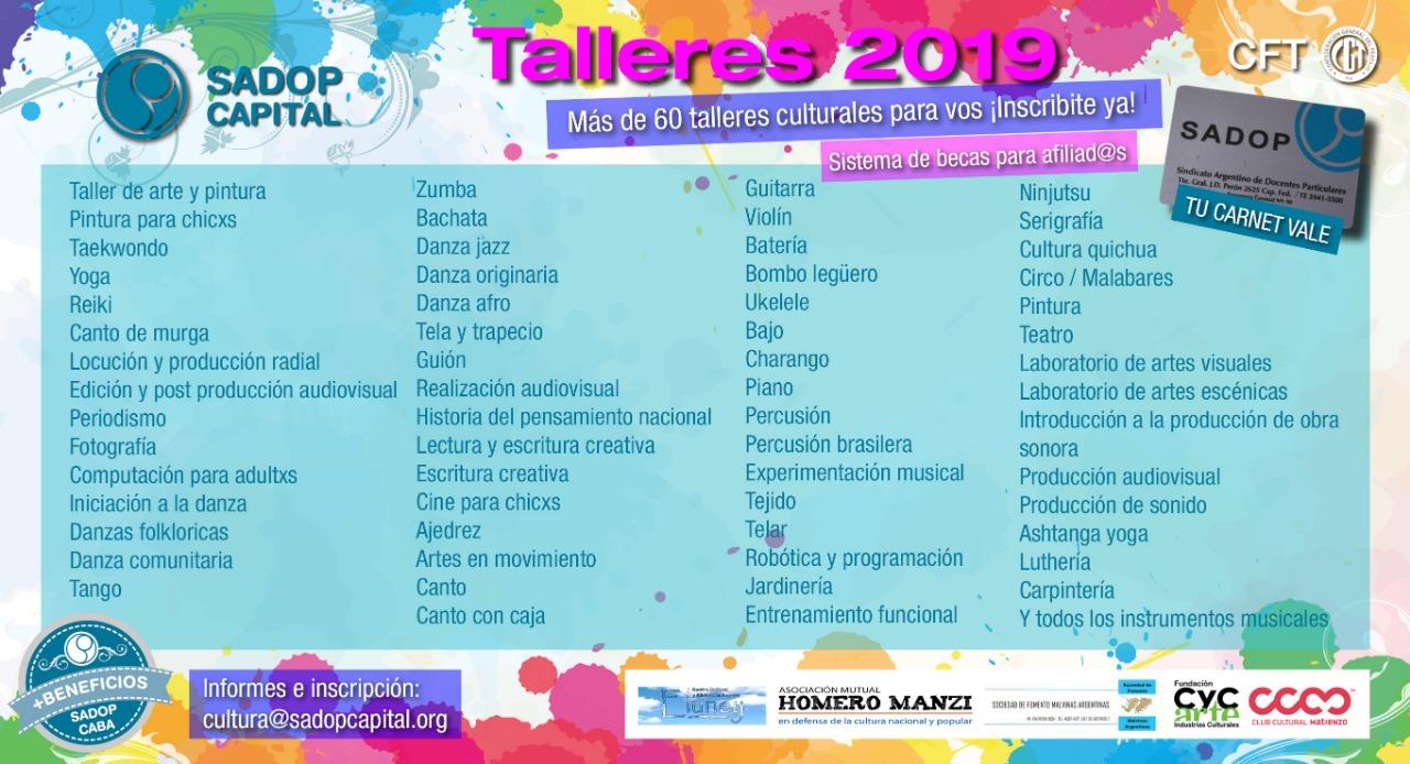 En este momento estás viendo Talleres 2019